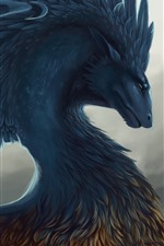 Preview iPhone wallpaper Dragon, feathers, art picture