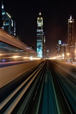 Dubai, UAE, road, speed, light lines, skyscrapers, night