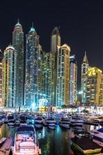 iPhone fondos de pantalla Dubai, rascacielos, noche de la ciudad, barcos, muelle
