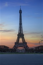 Preview iPhone wallpaper Eiffel Tower, night, trees, Paris, France