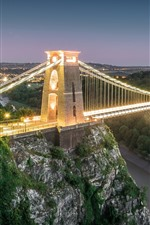 England, Bristol, bridge, dusk, lighting