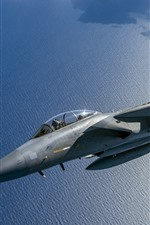 Preview iPhone wallpaper F-15C Eagle Fighter, sea, clouds