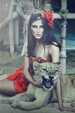 Menina fantasia e leopardo