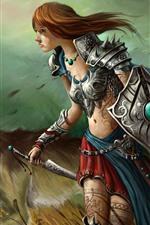 Fantasia menina e lobo, guerreiro, espada, imagens de arte