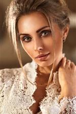 Fashion girl, hairstyle, white lace dress