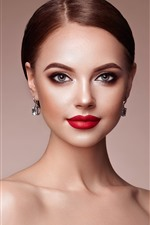 Preview iPhone wallpaper Fashion girl, makeup, earring, red lip