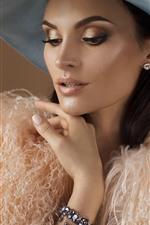 Fashion girl, makeup, hat