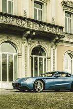 Preview iPhone wallpaper Ferrari blue car, villa