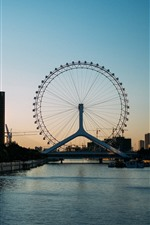 Preview iPhone wallpaper Ferris wheel, city, river, bridge, buildings