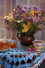 Preview iPhone wallpaper Flowers, chrysanthemum, bread, jam, tea, still life