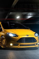 Preview iPhone wallpaper Ford yellow car front view, headlight, lights, parking