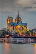 Preview iPhone wallpaper France, Paris, river, bridge, buildings, lights, night
