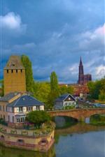 Preview iPhone wallpaper France, Strasbourg, bridge, river, houses, clouds, sky