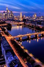 Preview iPhone wallpaper Frankfurt, Germany, city, night, roads, river, bridge, skyscrapers, lights