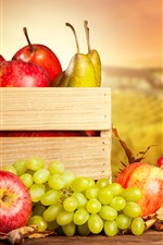 Preview iPhone wallpaper Fruit photography, grapes, apples, pears, box