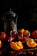 Preview iPhone wallpaper Fruit, pomegranate, persimmon