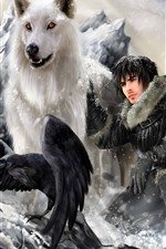 Preview iPhone wallpaper Game of Thrones, wolf, man, bird, art picture