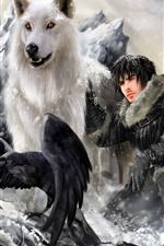 Game of Thrones, lobo, homem, pássaro, imagens de arte