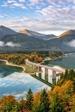Preview iPhone wallpaper Germany, Bayern, Alps, bridge, road, mountains, river