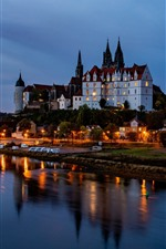 Preview iPhone wallpaper Germany, Elba, city, castle, river, lights, night