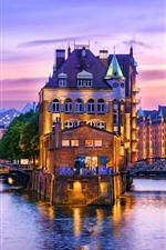 Preview iPhone wallpaper Germany, Hamburg, river, houses, illumination, evening
