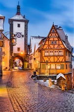 Preview iPhone wallpaper Germany, Rothenburg, Medieval town, evening, lights, snow, winter