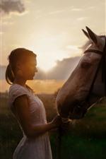 iPhone fondos de pantalla Niña y caballo, contraluz, sol.