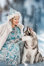 Girl and wolf, friends, snow, winter