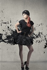 Preview iPhone wallpaper Girl, hat, black skirt, paint splash, creative picture
