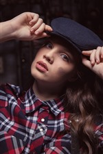 Preview iPhone wallpaper Girl, hat, hands, shirt