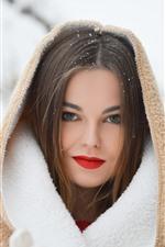 Girl in winter, snow, coat