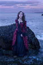 Preview iPhone wallpaper Girl, skirt, sea, rocks, dusk