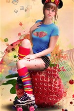 Preview iPhone wallpaper Girl, strawberry, colorful, creative design