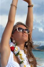 Девушка, солнцезащитные очки, цветы, море, лето