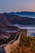 Preview iPhone wallpaper Great Wall, mountains, fog, morning, China