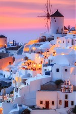 Preview iPhone wallpaper Greece, Santorini, island, dusk, houses, lights