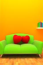 Green sofa, red love heart pillow, lamp, books, orange background