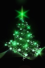 Preview iPhone wallpaper Green style Christmas tree, stars, abstract