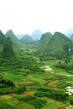 iPhone fondos de pantalla Guangxi Guilin Yangshuo paisaje, pueblo, montañas, China