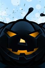 Halloween, black pumpkin, art picture