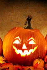 Preview iPhone wallpaper Halloween, pumpkin, bat, cat, lantern