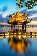 Preview iPhone wallpaper Hangzhou, Xiying Pavilion, lake, park, night, lights, China
