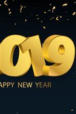 Feliz Ano Novo 2019, estilo de ouro