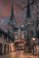 Holland, city, night, house, gate, lights, road
