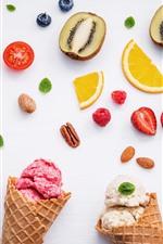 미리보기 iPhone 배경 화면 아이스크림, 오렌지, 키위, 딸기, 사과
