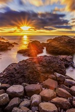 Preview iPhone wallpaper Ireland, Moyle, rocks, sea, sunset