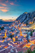 Preview iPhone wallpaper Italy, Basilicata, city, houses, mountains, evening