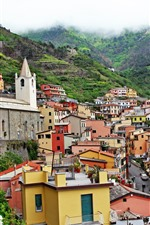 Preview iPhone wallpaper Italy, Riomaggiore, houses, height, mountains
