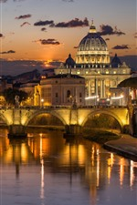 Preview iPhone wallpaper Italy, Rome, river, bridge, buildings, night, lights