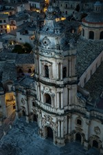 Preview iPhone wallpaper Italy, Sicily, Modica, San Giorgio cathedral, houses, night, lights